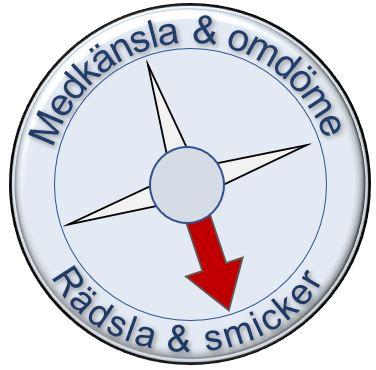 Kompass som pekar på Rädsla och smicker, och inte Medkänsla och omdöme