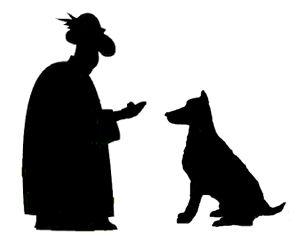 Präst dresserar en hund